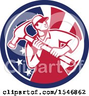 Retro Male Carpenter Holding A Giant Hammer In An American Flag Circle