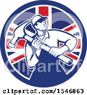 Retro Male Carpenter Holding A Giant Hammer In A Union Jack Flag Circle