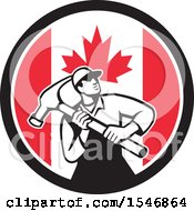 Poster, Art Print Of Retro Male Carpenter Holding A Giant Hammer In A Canadian Flag Circle