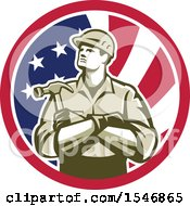 Poster, Art Print Of Retro Male Carpenter Holding A Hammer In An American Flag Circle