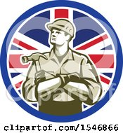 Retro Male Carpenter Holding A Hammer In A Union Jack Flag Circle