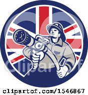 Clipart Of A Retro Fireman Holding A Hose In A British Flag Circle Royalty Free Vector Illustration