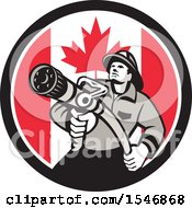 Clipart Of A Retro Fireman Holding A Hose In A Canadian Flag Circle Royalty Free Vector Illustration