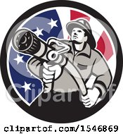 Clipart Of A Retro Fireman Holding A Hose In An American Flag Circle Royalty Free Vector Illustration