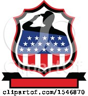 Clipart Of A Silhouetted American Veteran Soldier Saluting In An American Shield Over A Banner Royalty Free Vector Illustration