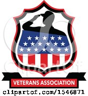 Clipart Of A Silhouetted American Soldier Saluting In An American Shield Over A Veterans Association Banner Royalty Free Vector Illustration
