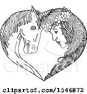 Clipart Of A Unicorn And Princess Or Maiden Touching Foreheads And Forming A Heart In Sketched Black And White Style Royalty Free Vector Illustration