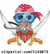 Clipart Of A Pirate Skull Wearing A Diving Mask Over Crossed Swords Royalty Free Vector Illustration