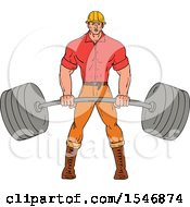 Clipart Of A Sketched Muscular Lumberjack Man Holding A Heavy Barbell Royalty Free Vector Illustration