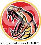 Clipart Of A Copperhead Snake Mascot Head In A Circle Royalty Free Vector Illustration