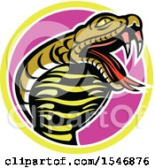 Clipart Of A King Cobra Snake Mascot In A Circle Royalty Free Vector Illustration