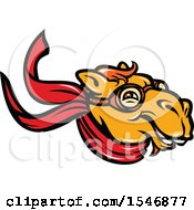 Clipart Of A Retro Happy Pilot Camel Head With Goggles And A Scarf Royalty Free Vector Illustration