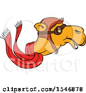 Clipart Of A Pilot Camel Head In Profile With Goggles A Hat And Scarf Royalty Free Vector Illustration