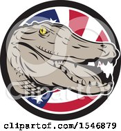 Clipart Of A Retro Alligator Head Over An American Flag Circle Royalty Free Vector Illustration by patrimonio