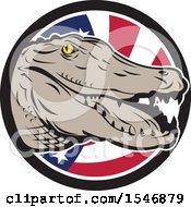 Poster, Art Print Of Retro Alligator Head Over An American Flag Circle