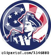 Clipart Of A Retro American Patriot Minuteman Revolutionary Soldier In An American Flag Circle Royalty Free Vector Illustration