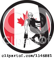 Poster, Art Print Of Retro Male Arborist Climbing A Pole With A Chainsaw In A Canadian Flag Circle