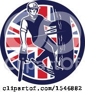 Clipart Of A Retro Male Arborist Climbing A Pole With A Chainsaw In A Union Jack Flag Circle Royalty Free Vector Illustration