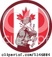 Retro Male Bagpiper In A Canadian Flag Circle
