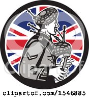 Retro Male Bagpiper In A Union Jack Flag Circle