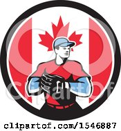 Clipart Of A Retro Male Baseball Player In A Canadian Flag Circle Royalty Free Vector Illustration