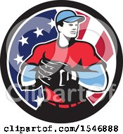 Poster, Art Print Of Retro Male Baseball Player In An American Flag Circle