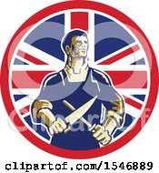 Retro Male Butcher Sharpening A Knife In A Union Jack Flag Circle