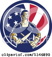 Poster, Art Print Of Retro Male Butcher Sharpening A Knife In An American Flag Circle