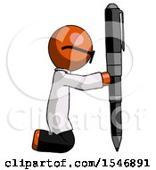 Orange Doctor Scientist Man Posing With Giant Pen In Powerful Yet Awkward Manner