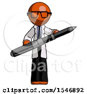 Orange Doctor Scientist Man Posing Confidently With Giant Pen