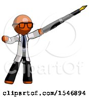 Orange Doctor Scientist Man Pen Is Mightier Than The Sword Calligraphy Pose