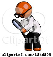 Orange Doctor Scientist Man Inspecting With Large Magnifying Glass Left