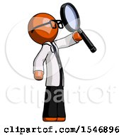Orange Doctor Scientist Man Inspecting With Large Magnifying Glass Facing Up