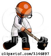 Orange Doctor Scientist Man Hitting With Sledgehammer Or Smashing Something At Angle