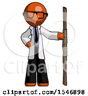 Orange Doctor Scientist Man Holding Staff Or Bo Staff