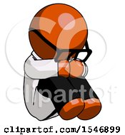 Orange Doctor Scientist Man Sitting With Head Down Facing Angle Right
