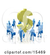 Circling Group Of Blue Businessmen Surrounding A Giant Golden Dollar Symbol