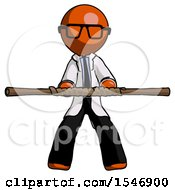 Orange Doctor Scientist Man Bo Staff Kung Fu Defense Pose