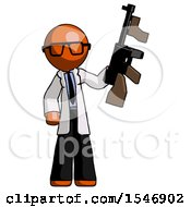 Orange Doctor Scientist Man Holding Tommygun