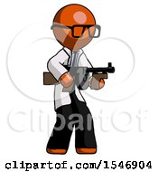 Orange Doctor Scientist Man Tommy Gun Gangster Shooting Pose