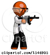 Orange Doctor Scientist Man Shooting Automatic Assault Weapon