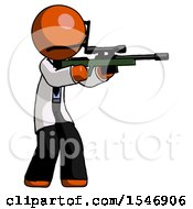 Orange Doctor Scientist Man Shooting Sniper Rifle