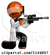 Orange Doctor Scientist Man Kneeling Shooting Sniper Rifle