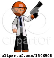 Orange Doctor Scientist Man Holding Handgun