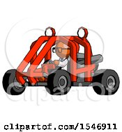 Orange Doctor Scientist Man Riding Sports Buggy Side Angle View