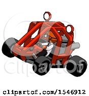 Orange Doctor Scientist Man Riding Sports Buggy Side Top Angle View