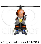 Orange Doctor Scientist Man Flying In Gyrocopter Front View