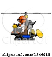 Orange Doctor Scientist Man Flying In Gyrocopter Front Side Angle View