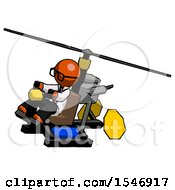 Orange Doctor Scientist Man Flying In Gyrocopter Front Side Angle Top View