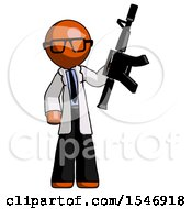 Orange Doctor Scientist Man Holding Automatic Gun